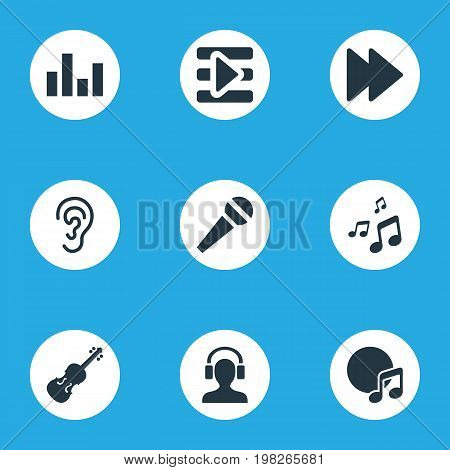 Elements Microphone, Fiddle, Dj And Other Synonyms Next, Equalizer And Listening.  Vector Illustration Set Of Simple Music Icons.