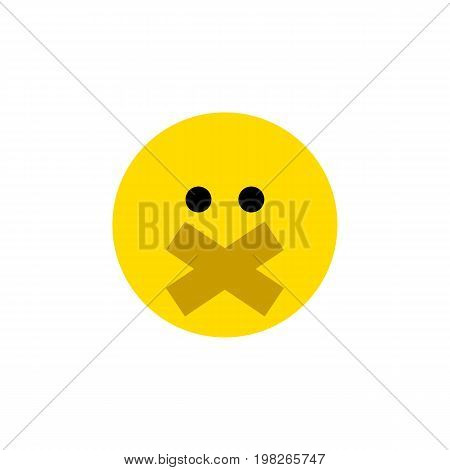 Hush Vector Element Can Be Used For Hush, Silent, Smile Design Concept.  Isolated Silent Flat Icon.