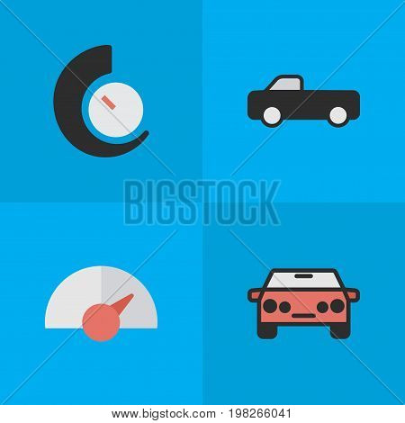 Elements Speed, Auto, Speedometer And Other Synonyms Chronometer, Suv And Auto.  Vector Illustration Set Of Simple Transportation Icons.