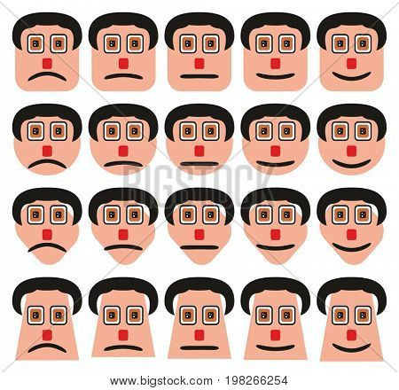 Faces Expressions Icons Set with different shapes including square circle diamond rectangular for social media and web symbols collection
