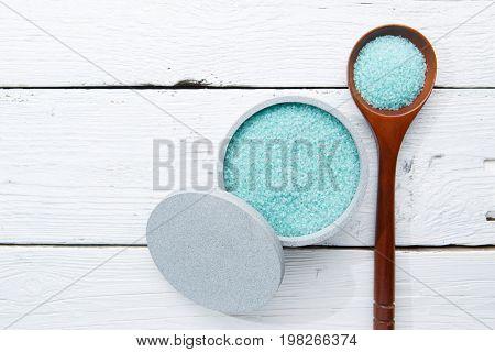 Bath salt on white table