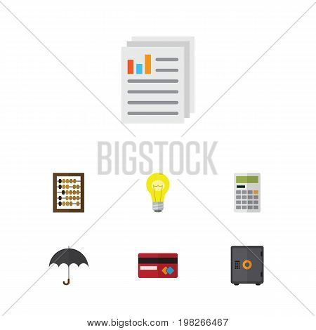 Flat Icon Gain Set Of Payment, Calculate, Document And Other Vector Objects