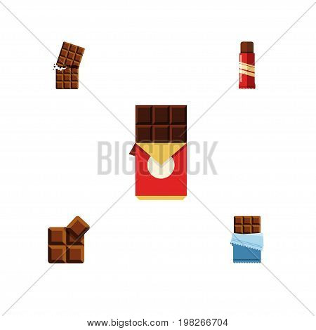 Flat Icon Bitter Set Of Bitter, Wrapper, Chocolate Bar And Other Vector Objects