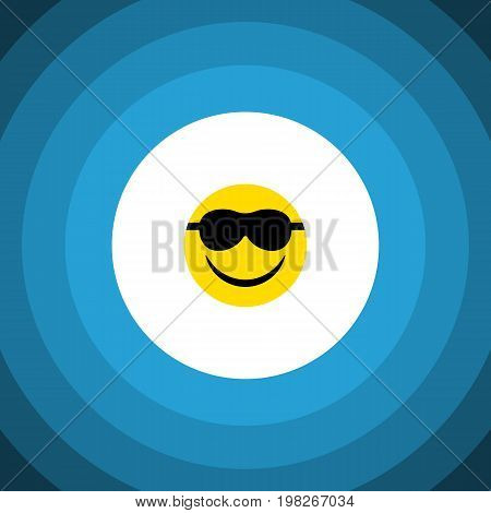 Happy Vector Element Can Be Used For Smile, Sunglasses, Happy Design Concept.  Isolated Sunglasses Flat Icon.