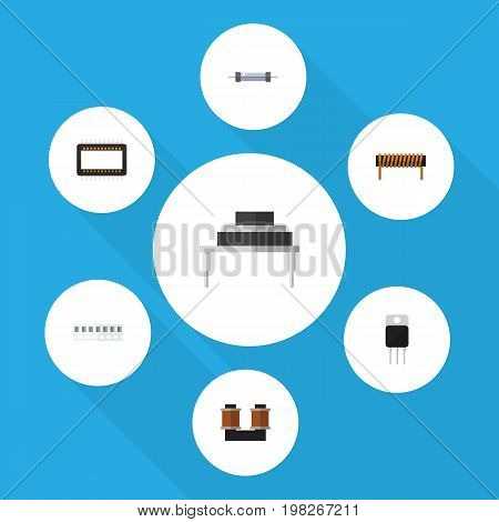 Flat Icon Appliance Set Of Destination, Coil Copper, Receiver And Other Vector Objects