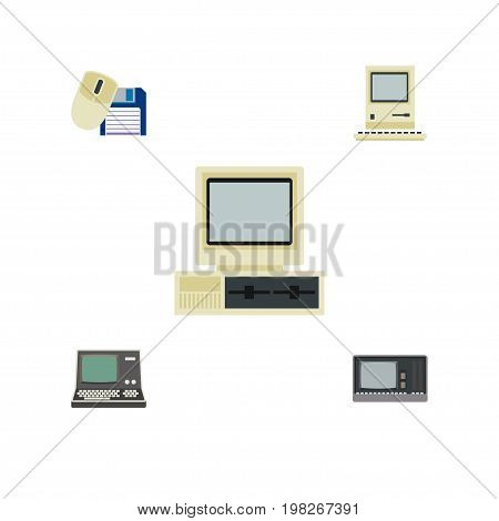 Flat Icon Computer Set Of Vintage Hardware, Computing, Computer And Other Vector Objects