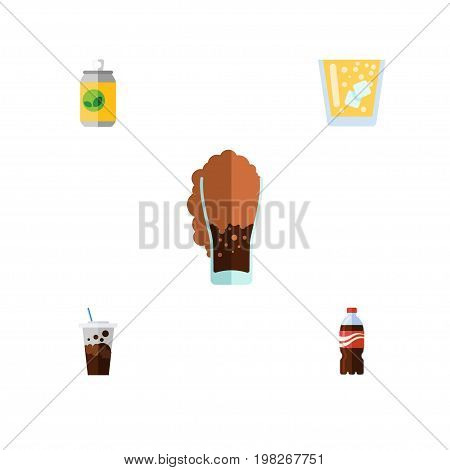 Flat Icon Beverage Set Of Carbonated, Bottle, Beverage And Other Vector Objects