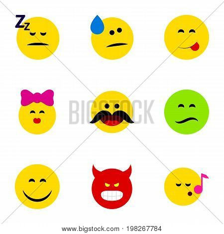 Flat Icon Face Set Of Pouting, Cheerful, Tears And Other Vector Objects
