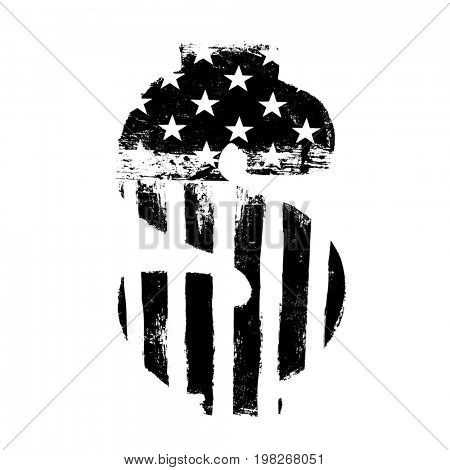 Dollar currency sign. Black on white  Raster isolated symbol. American flag shaped silhouette. Grunge, style illustration.