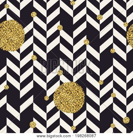 Chevron black pattern and golden chaotic dots. Seamless pattern design background.