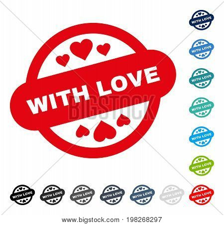 With Love Stamp Seal icon. Vector illustration style is a flat iconic symbol in some color versions.