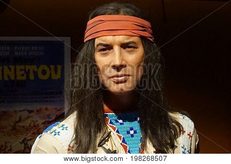 May 8. 2017 Museum of wax statues Grevin in the capital of the Czech Republic in Prague: Pierre Brice - Actor is known primarily as the filmmaker of Vinnetou