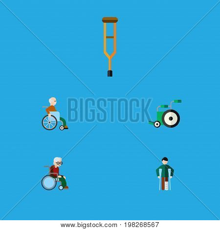 Flat Icon Cripple Set Of Stand, Wheelchair, Handicapped Man Vector Objects