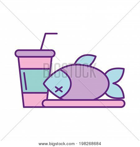 tray with delicious fish vector illustration design