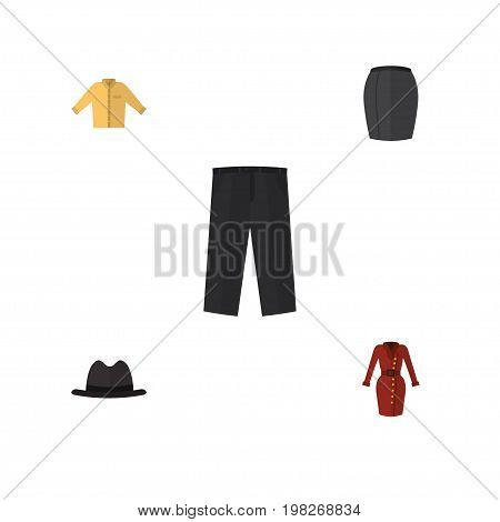 Flat Icon Garment Set Of Pants, Stylish Apparel, Clothes And Other Vector Objects
