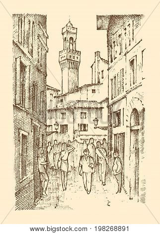 landscape in European town Florence in Italy. engraved hand drawn in old sketch and vintage style. historical architecture with buildings, perspective view. Travel postcard. Palazzo Vecchio