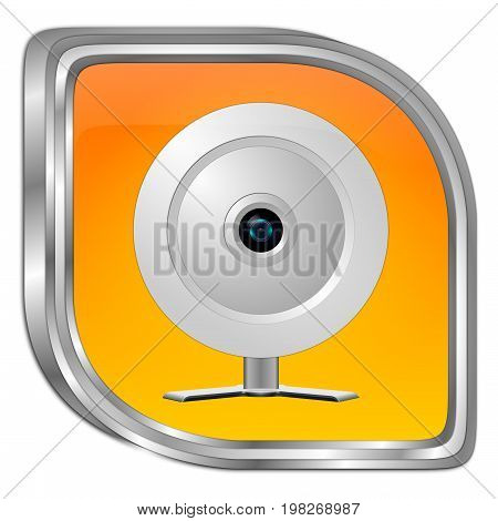 orange Button with Webcam - 3D illustration