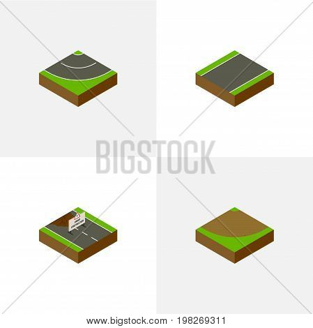 Isometric Way Set Of Repairs, Unilateral, Road And Other Vector Objects