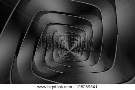 Abstract beautiful creative background concept of optical illusion of gently twisting dark gray spiral intricately curved from rhombuses with rounded edges or cube funnel infiniti. 3d Render
