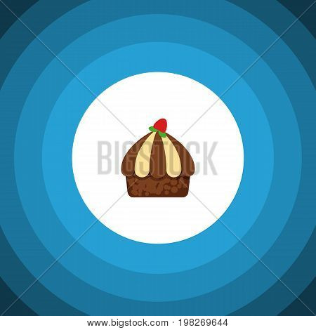 Cupcake Vector Element Can Be Used For Cupcake, Muffin, Dessert Design Concept.  Isolated Muffin Flat Icon.