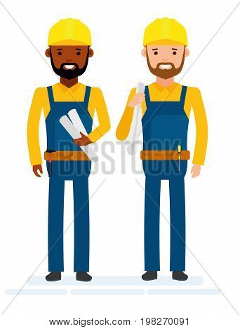 Construction workers. Isolated against white background. Vector illustration. Cartoon flat style.
