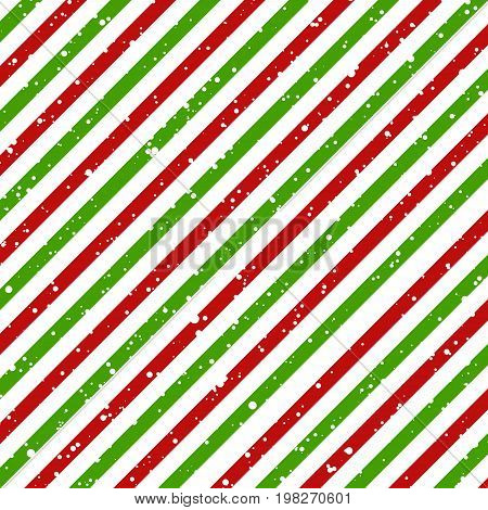 Christmas diagonal striped red and green lines on white background with snow texture Vector illustration
