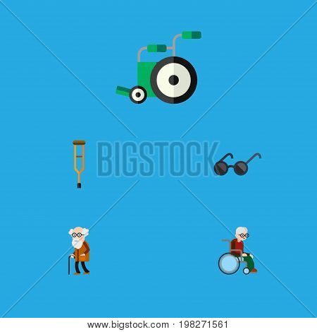 Flat Icon Cripple Set Of Stand, Wheelchair, Equipment Vector Objects