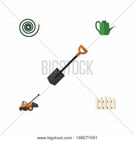 Flat Icon Garden Set Of Spade, Bailer, Wooden Barrier And Other Vector Objects