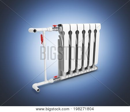 Heating White Radiator Isolated On Blue Gadient Background 3D