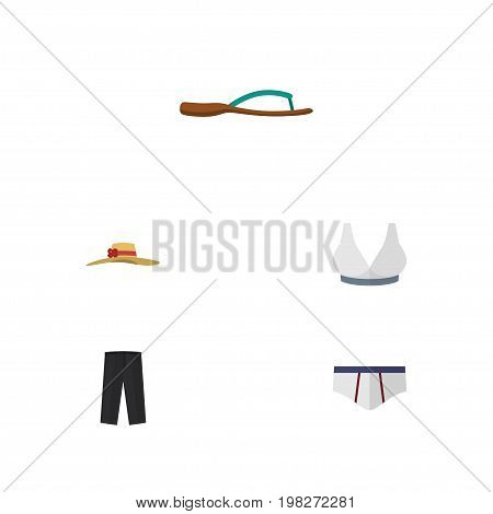Flat Icon Clothes Set Of Brasserie, Pants, Beach Sandal Vector Objects