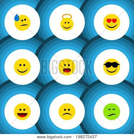 Flat Icon Emoji Set Of Frown, Happy, Love And Other Vector Objects