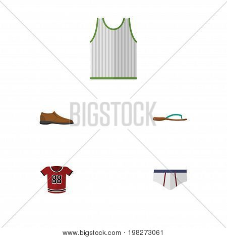 Flat Icon Clothes Set Of Beach Sandal, Singlet, Underclothes Vector Objects
