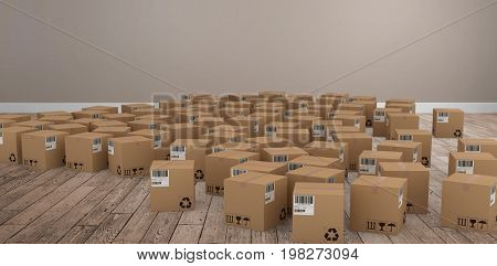 Group of computer generated cardboard boxes against room with wooden floor