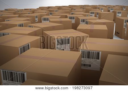 Brown cardboard boxes against grey background