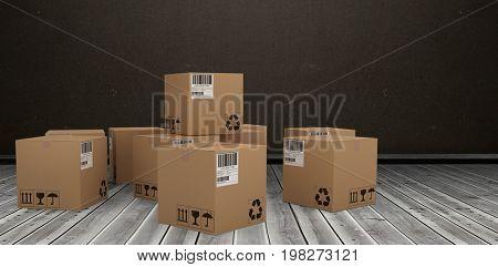 Group of digitally generated brown cardboard boxes against dark room