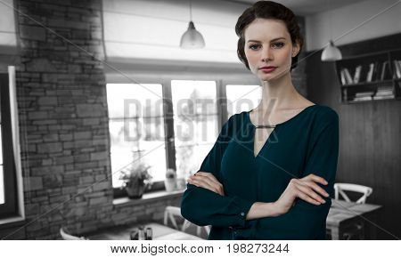 Portrait of beautiful young woman standing with arms crossed against empty chairs and tables
