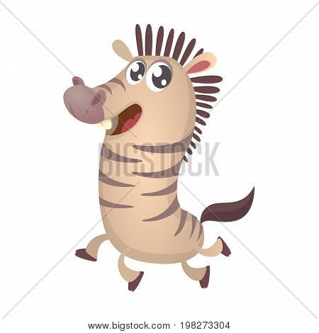 Cute cartoon zebra character icon. Wild animal collection. Baby education. Isolated on white background. Flat design. Vector illustration of zebra running and smiling