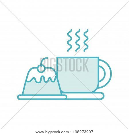 coffee cup with pudding vector illustration design