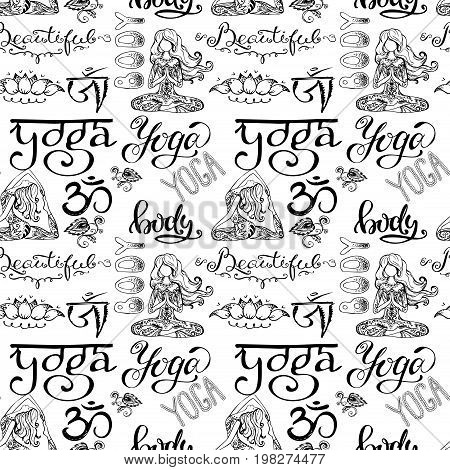Yoga seamless pattern with lettering, ornament, girl in yoga pose. on white background. Stock vector