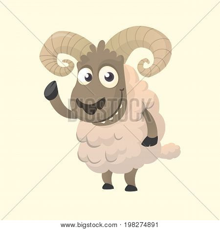 Cute cartoon sheep mascot character. Vector illustration of fluffy sheep waving hand. Isolated on white