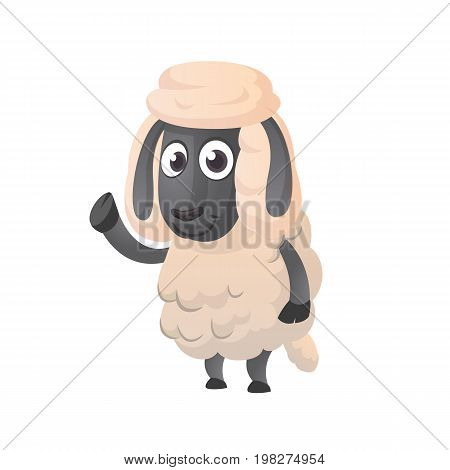 Funny cartoon sheep icon. Vector illustration of a fluffy sheep character mascot waving hand. Great for print sticker  illustration