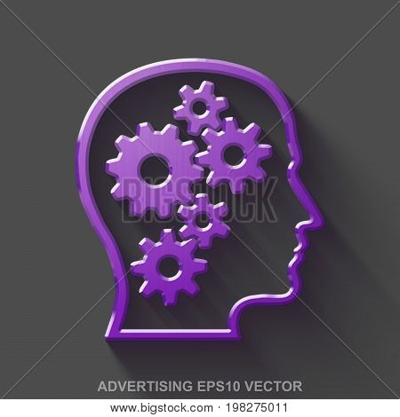 Flat metallic marketing 3D icon. Purple Glossy Metal Head With Gears icon with transparent shadow on Gray background. EPS 10, vector illustration.