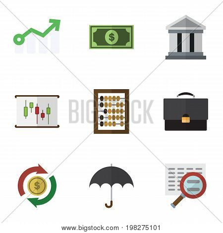 Flat Icon Gain Set Of Portfolio, Parasol, Counter And Other Vector Objects