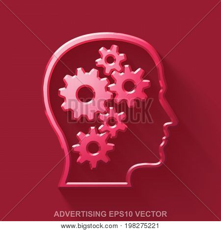 Flat metallic advertising 3D icon. Red Glossy Metal Head With Gears icon with transparent shadow on Red background. EPS 10, vector illustration.
