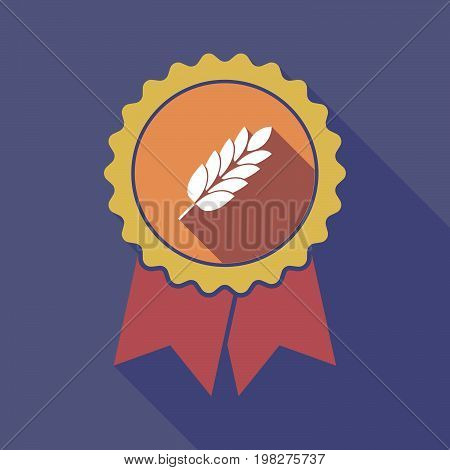 Long Shadow Badge With  A Wheat Plant Icon