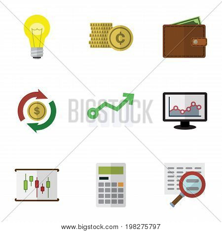 Flat Icon Gain Set Of Cash, Diagram, Bubl And Other Vector Objects