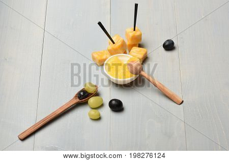 Delicious Snack With Cheese And Honey, Top View