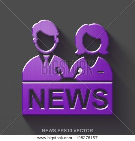 Flat metallic news 3D icon. Purple Glossy Metal Anchorman icon with transparent shadow on Gray background. EPS 10, vector illustration.