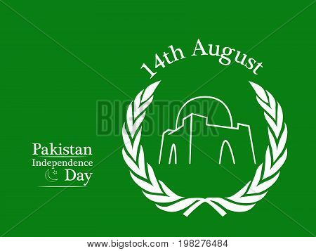 illustration of minar-e-pakistan with 14th August Pakistan Independence Day text on the occasion of Pakistan Independence Day