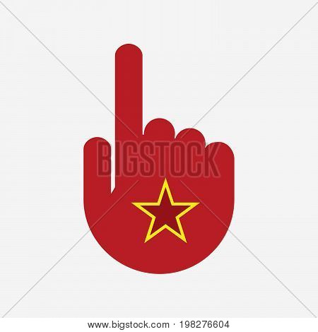 Isolated Touching Hand With  The Red Star Of Communism Icon